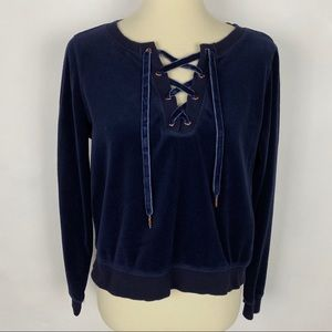 BETSEY JOHNSON Performance Velour Lace Up Pullover